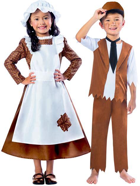 girls boys victorian costume maid servant kids child