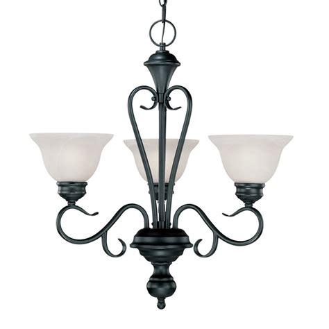 3 Light Black Chandelier Shop Millennium Lighting Devonshire 23 In 3 Light Black Wrought Iron Alabaster Glass Shaded