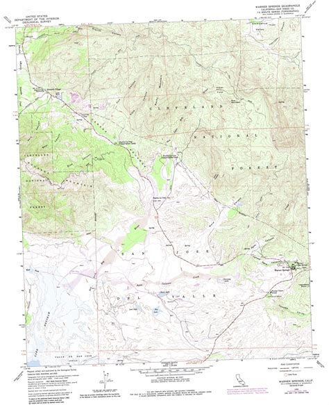 springs in southern california map warner springs topographic map ca usgs topo 33116c6