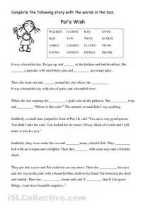 Children should fill in the blanks with the correct verb in the box