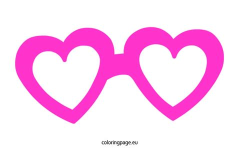 hearts glasses mask coloring page