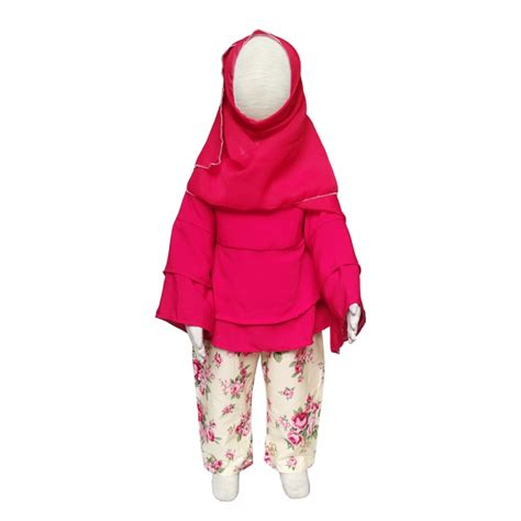 Setelan Batik Anak Perempuan 1 2 Tahun setelan baju muslim anak perempuan grow kerudung size 1 3 tahun bahan katun jepang elevenia