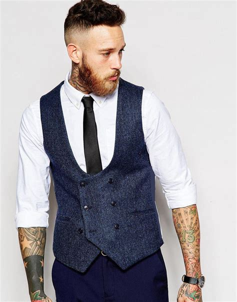 Stylish Vests by Coat Pant Designs Navy Blue Breasted Tweed