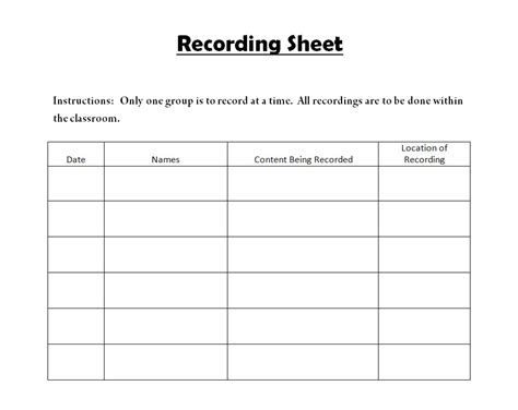 Time Recording Sheet Template by Time Record Sheet Madrat Co