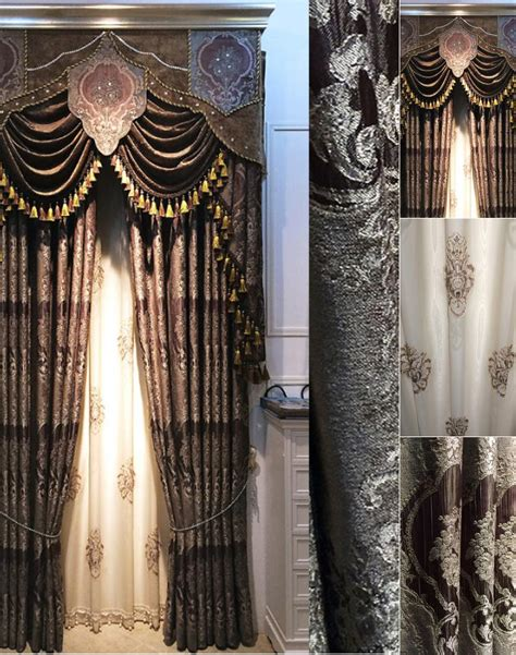 elegant drapes chic thick chenille dark coffee jacquard elegant curtains
