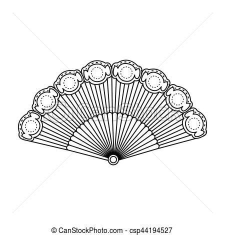 Fan Outline by Flamenco Fan Icon In Outline Style Isolated On White Vector Illustration Search Clipart