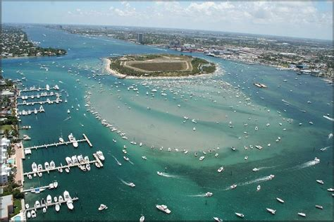 boat rs near disappearing island aerial view of peanut island palm beach inlet palm beach