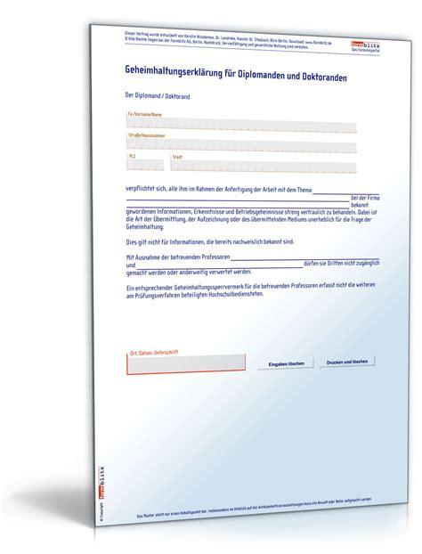 Word Vorlage Doktorarbeit geheimhaltungsvereinbarung diplomand doktorand muster