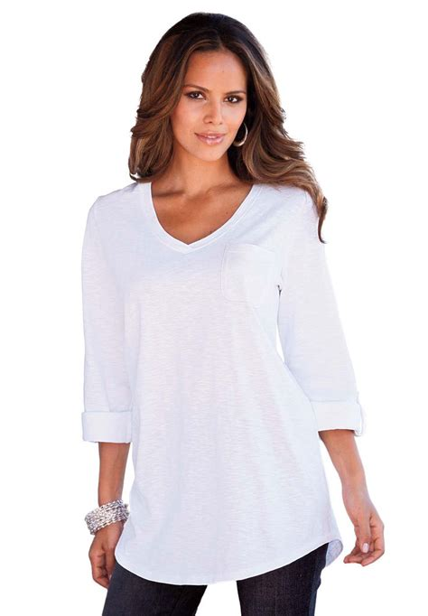plus size atasan tops boyfriend slub tunic plus size tops and tees roamans
