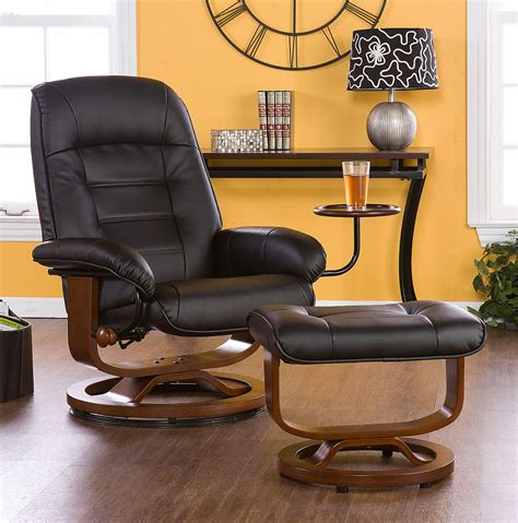 euro style recliner euro style recliner and ottoman in black leather