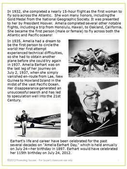 amelia earhart biography for students amelia earhart reading comprehension and comprehension on