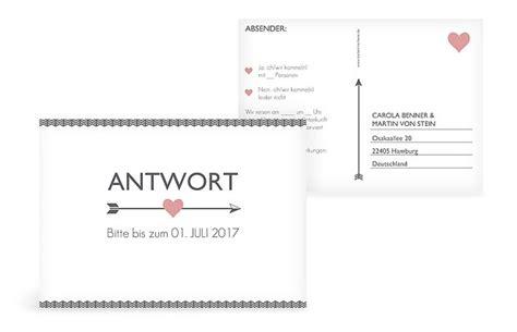 Hochzeitseinladung Antwortkarte by Antwortkarte Quot Amors Pfeil Quot