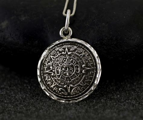 sterling silver aztec calendar necklace sterling silver aztec
