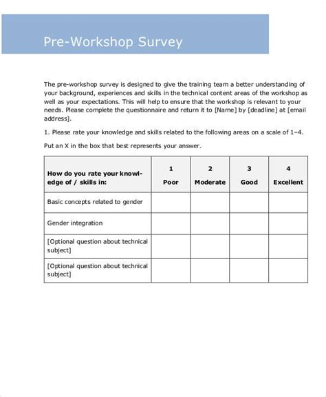 pre training survey template