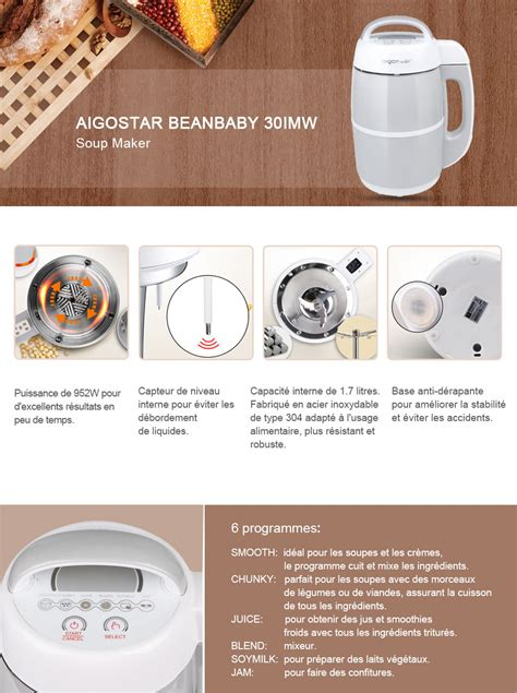 aigostar beanbaby 30imw machine 224 soupe laits v 233 g 233 taux confitures smoothies 952w 1 7 l 0