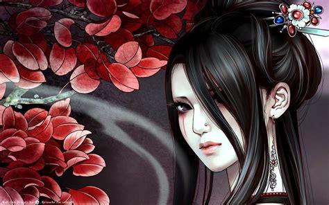 anime girl tattoo wallpaper girl tattoo black long hair anime hd wallpaper 19244