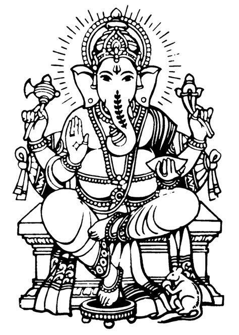 printable ganesh images lord ganesha coloring part 7