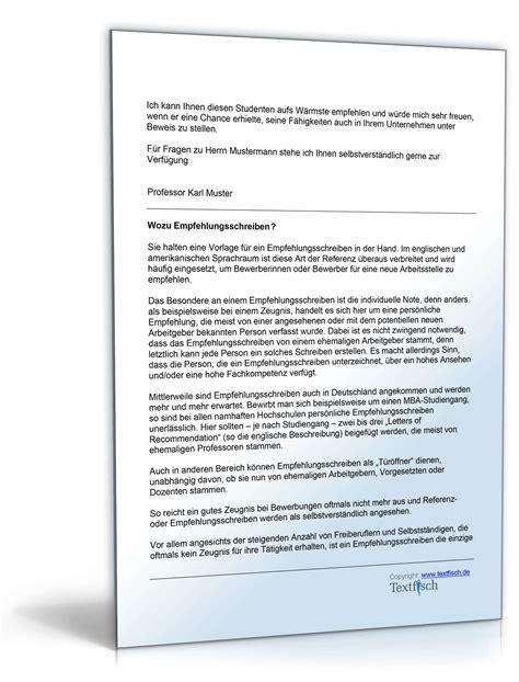 Musterbriefe Praktikum Empfehlung Eines Studenten F 252 R Ein Praktikum Muster Zum