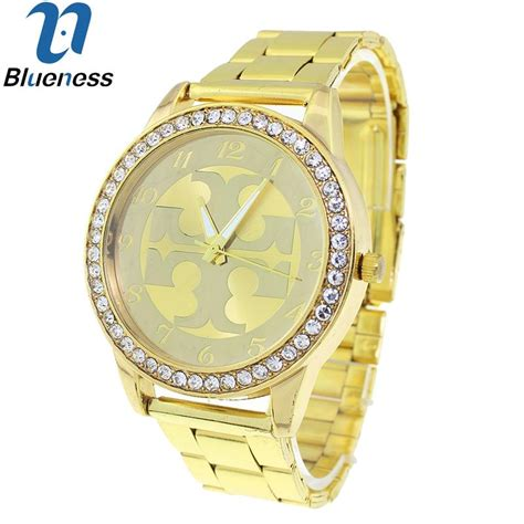 Jam Tangan Merk Inggris kebiruan merek mewah pergelangan tangan emas bagi perempuan geneva jam tangan berlian imitasi