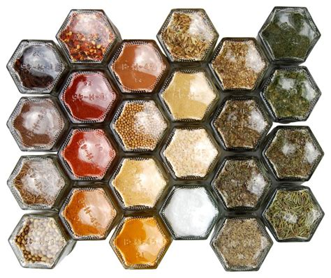 Organic Spice Rack by Magnetic Spice Rack With 24 Organic Spices Silver Lids
