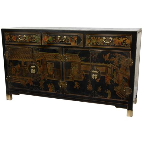 oriental furniture black lacquer large buffet table ebay