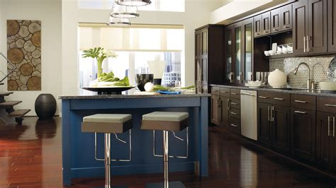 Dark Wood Kitchen Island by Dark Wood Cabinets With A Blue Kitchen Island Omega
