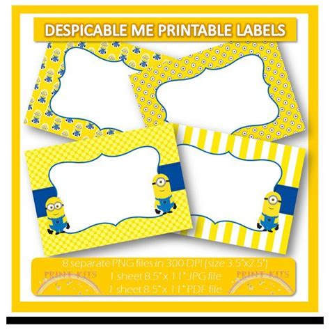 printable labels etsy instant download minions despicable me 2 printable labels