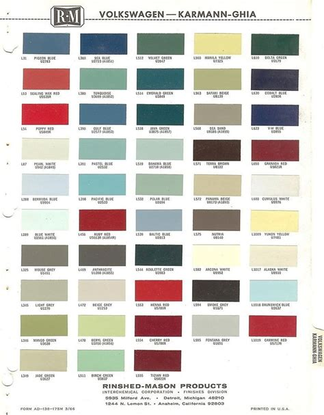 details about 1962 1963 1964 1965 1966 volkswagen karmann ghia beetle paint chips r m