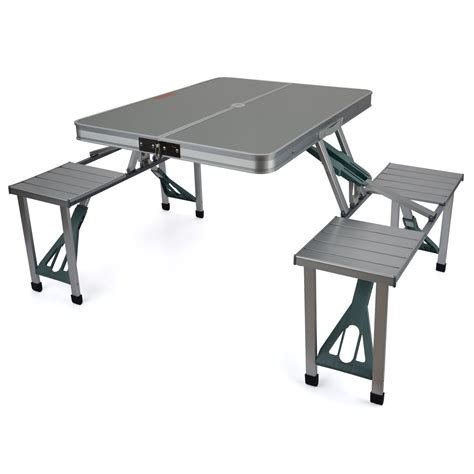 Portable Folding Picnic Table Trail Aluminium Portable Folding Cing Outdoor Bbq Picnic Table Chairs Set Ebay