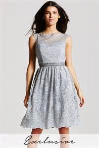 grey lace fit and flare dress from little mistress uk