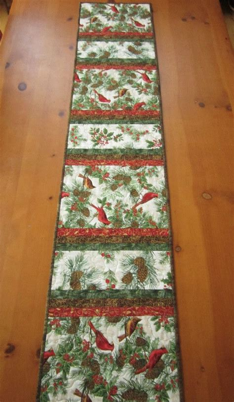 Quilted Table Runners For Sale by Table Runner With Birds And Pine Cones By
