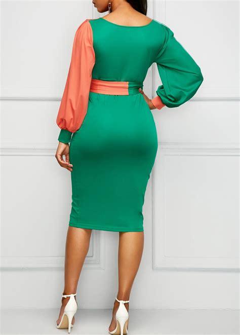 V Neck Sleeve Sheath Dress v neck belted lantern sleeve sheath dress africans