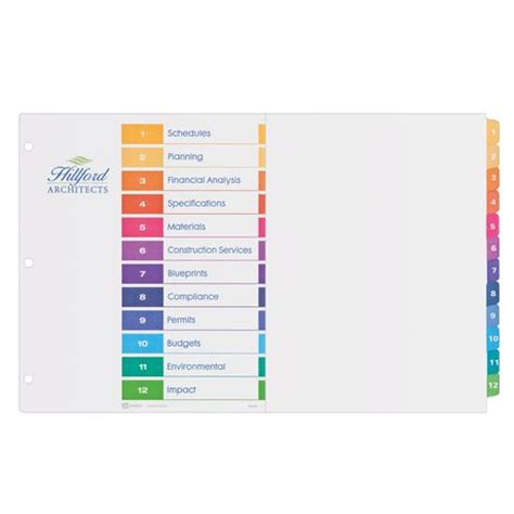 avery ready index dividers 8 tab template best photos of avery table of contents template avery