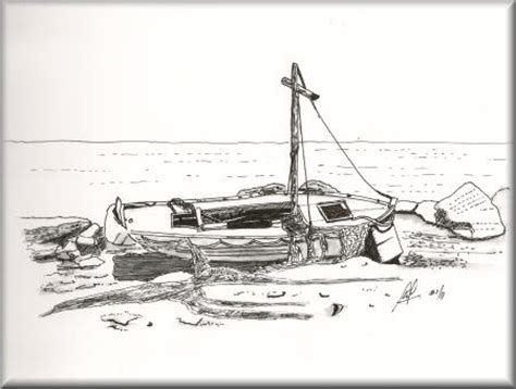boat ride drawing old fishing boat a pen sketch by john w johnston