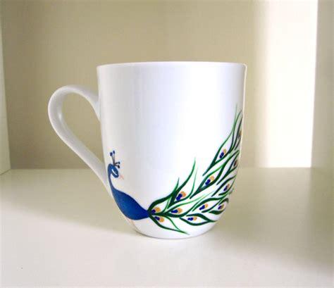 design a mug peacock coffee cup hand painted porcelain mug by meku on etsy