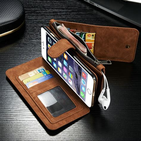 Leather Wallet Cover Iphone 6 by Luxury Genuine Leather Wallet Multi Function Cover