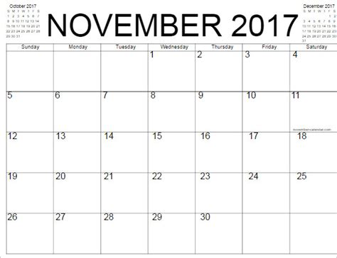 printable calendar 2017 november word calendar templates free word pdf format download