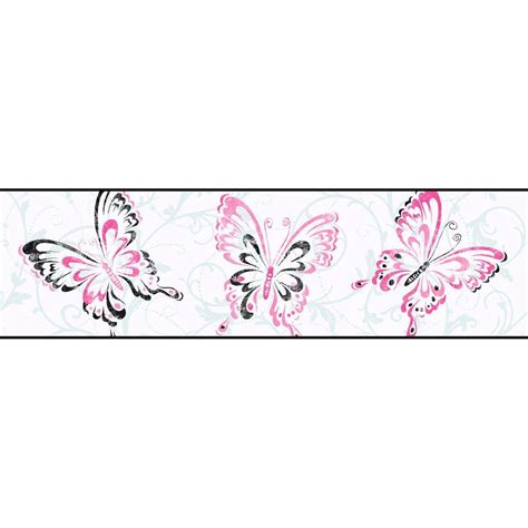 black and white wallpaper borders uk york wallcoverings candice olson kids butterfly scroll