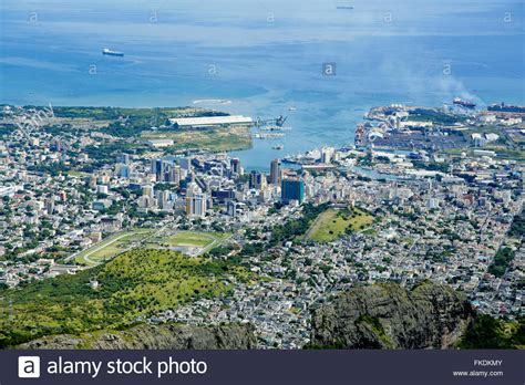 mauritius port louis port louis mauritius city skyline blue sky stock