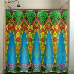 blue mexican talavera tile shower curtain from