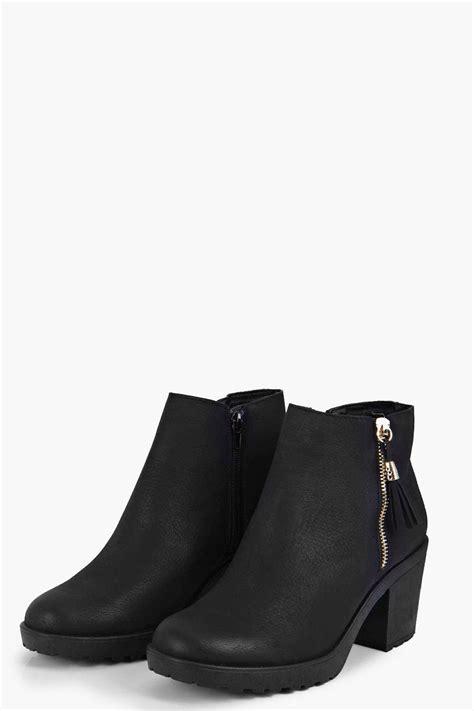 boohoo womens fringe trim block heel chelsea boot ebay