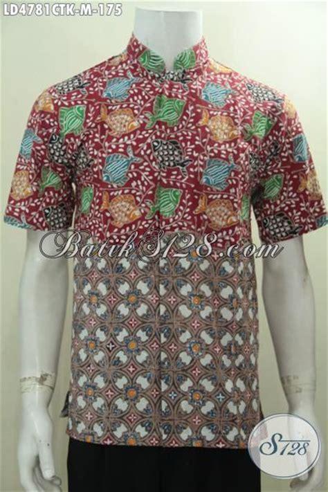 desain kemeja bus trend busana batik lelaki muda dua motif berpadu desain