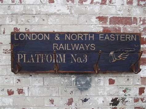 woods vintage home interiors vintage railway platform hook sign board by woods vintage home interiors notonthehighstreet