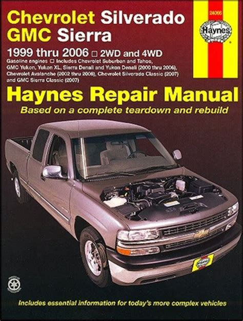 old car owners manuals 2012 gmc sierra spare parts catalogs silverado tahoe sierra yukon repair manual 1999 2006 haynes