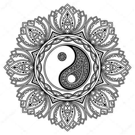 hena tatoo mandaly dekorativn 237 symbol jin jang mehndi