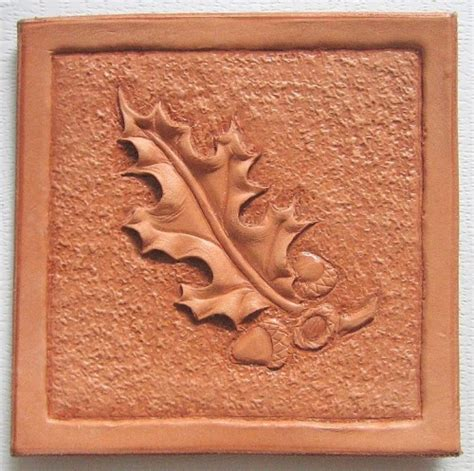 oak leaf pattern leather oak leaf hand tooled leather reproduction print
