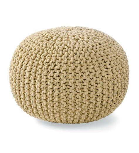 hand knitted pouf ottoman pin by leslie barrett on missing pieces pinterest