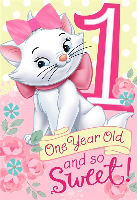 Aristocats 1st Birthday Card With Wearable Hair Bow