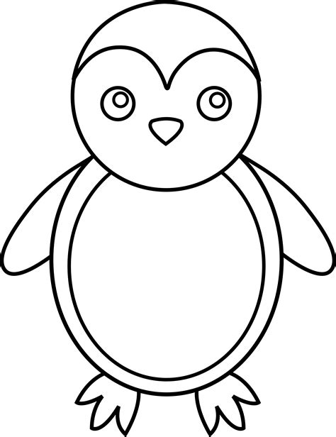 Penguin Clipart Outline by Penguin Line Free Clip
