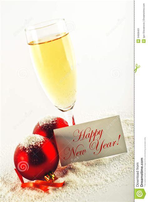 happy  year white wine  christmas balls  greeting car stock image image
